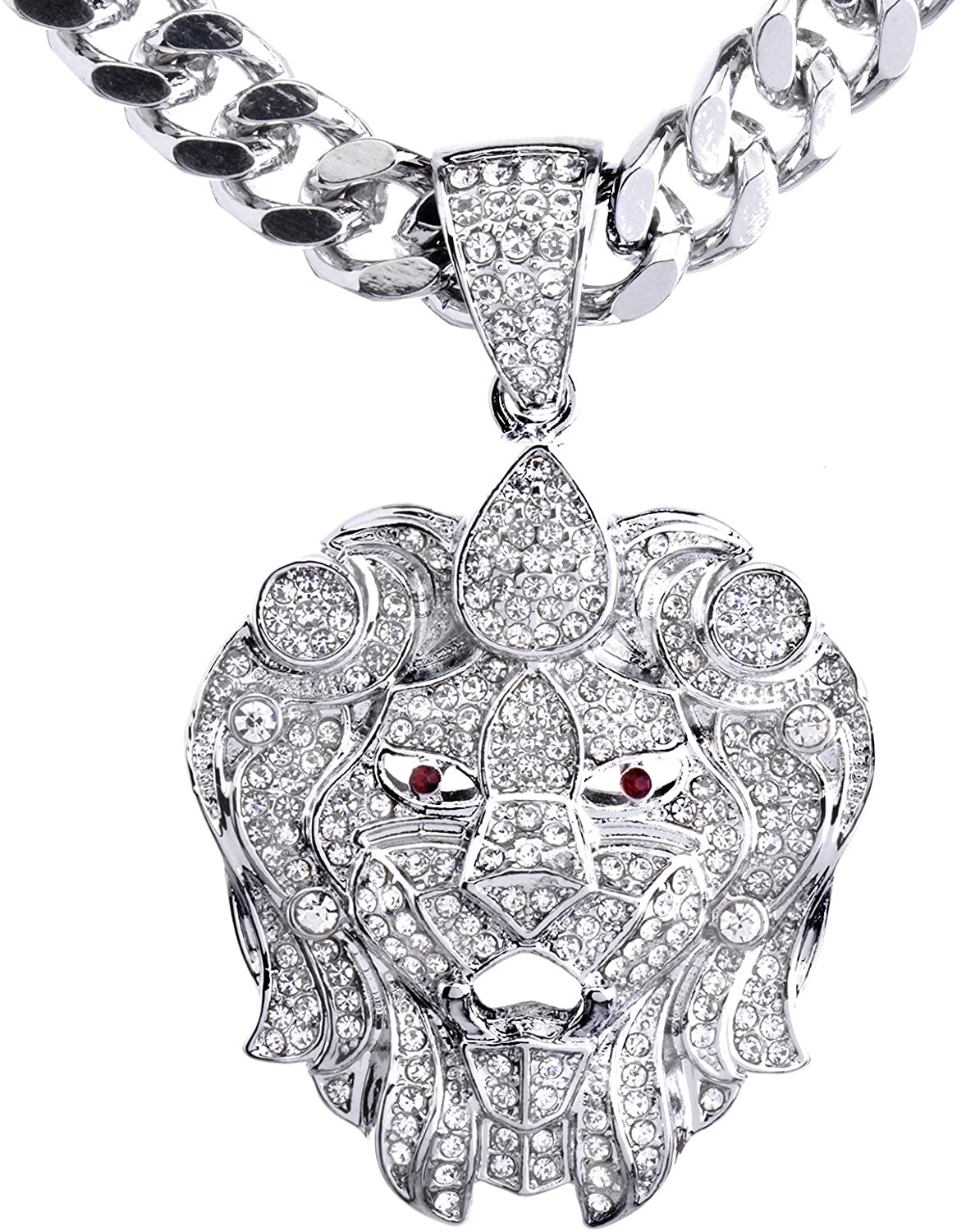 metaltree98 New Men's 14K Gold & Silver Plated Iced Out Lion Head Pendant 30