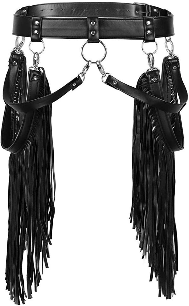 HengLT Women's Faux Leather Fringe Skirt Belts Adjustable Waist Tassle Belt Skirt Party Rave Halloween Costume Black