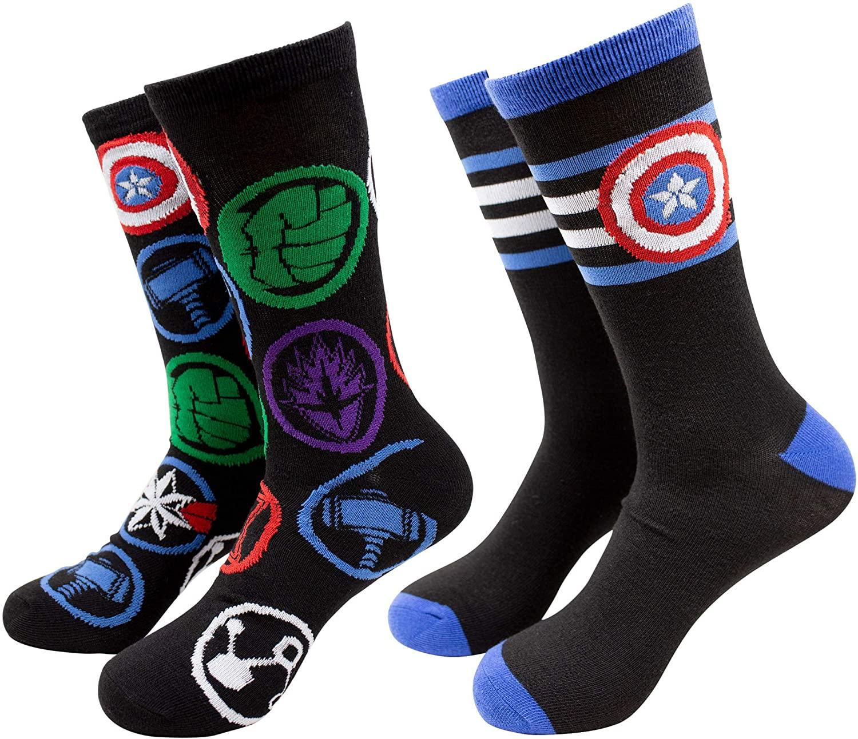 Captain America Striped Symbol and Avengers Logos 2-Pack Crew Socks