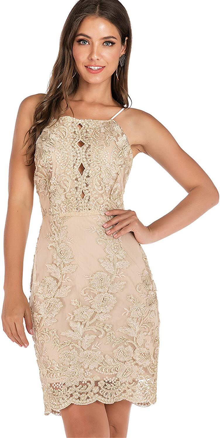 Soluo Womens Spaghetti Strap Lace Dress Sexy Halter Backless Trim Dresses Floral A-Line Cocktail Party Sleepwear