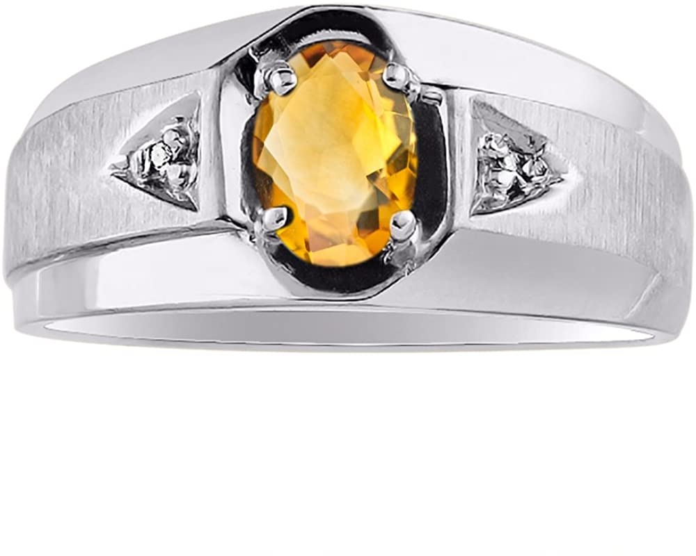 Diamond & Citrine Ring Sterling Silver or Yellow Gold Plated