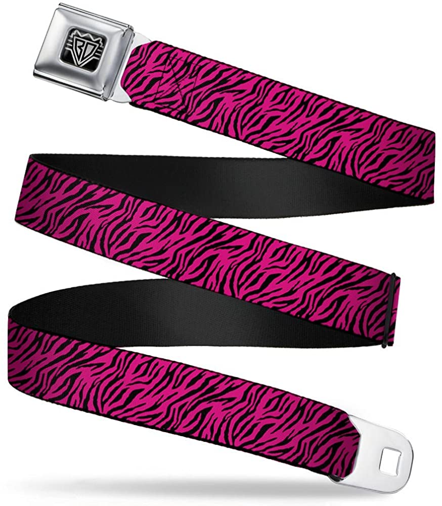 Buckle-Down Seatbelt Belt - Zebra 2 Fuchsia Pink - 1.5 Wide - 24-38 Inches in Length