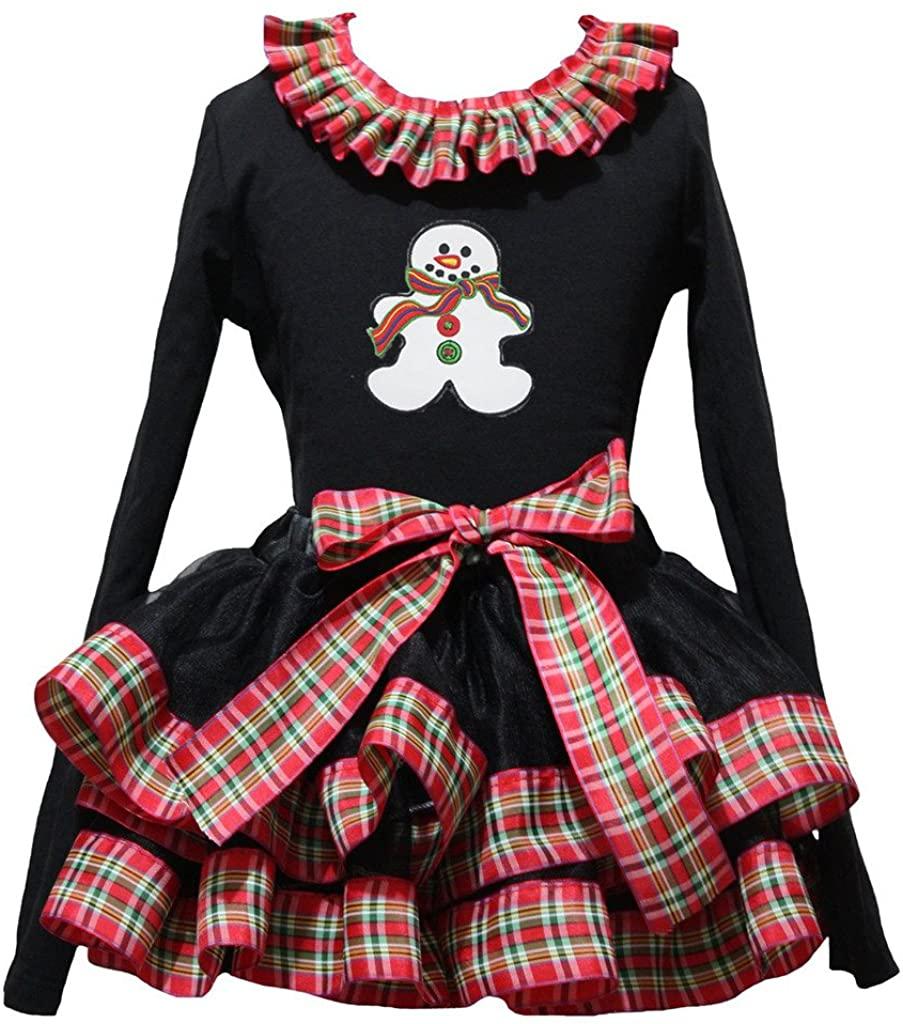 Petitebella Ginger Snowman Black L/s Shirt Checkered Ribbon Petal Skirt Nb-8y