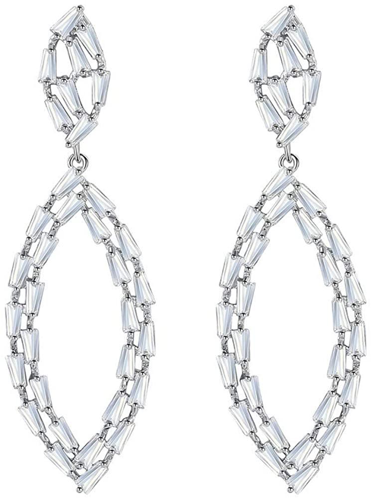 mecresh Swarovski Cubic Zirconia Round Dangle Simple Geometric Earrings for Girls Women Party Wedding Fashion Jewelry Gift …