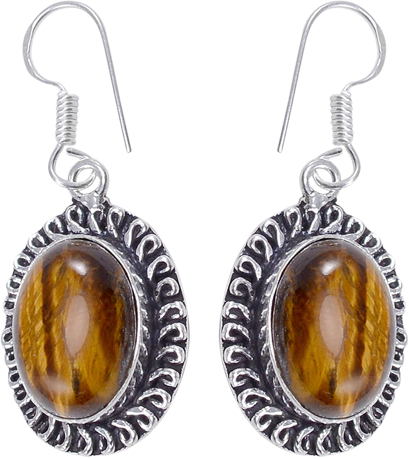 Silvesto India 925 Sterling Silver Plated- Brown Tiger Eye- Handmade Jewelry Manufacturer Simple Design Dangle Earring