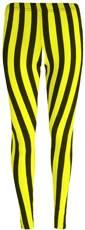 Janisramone Kids Girls Vertical Stripe Microfiber Leggings Full Length Dance Trouser Pants