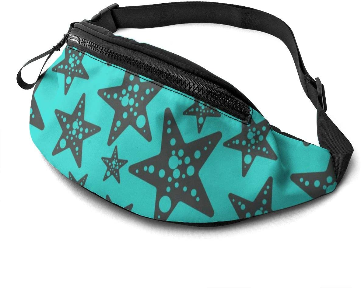 Blue pentagram Fanny Pack for Men Women Waist Pack Bag with Headphone Jack and Zipper Pockets Adjustable Straps