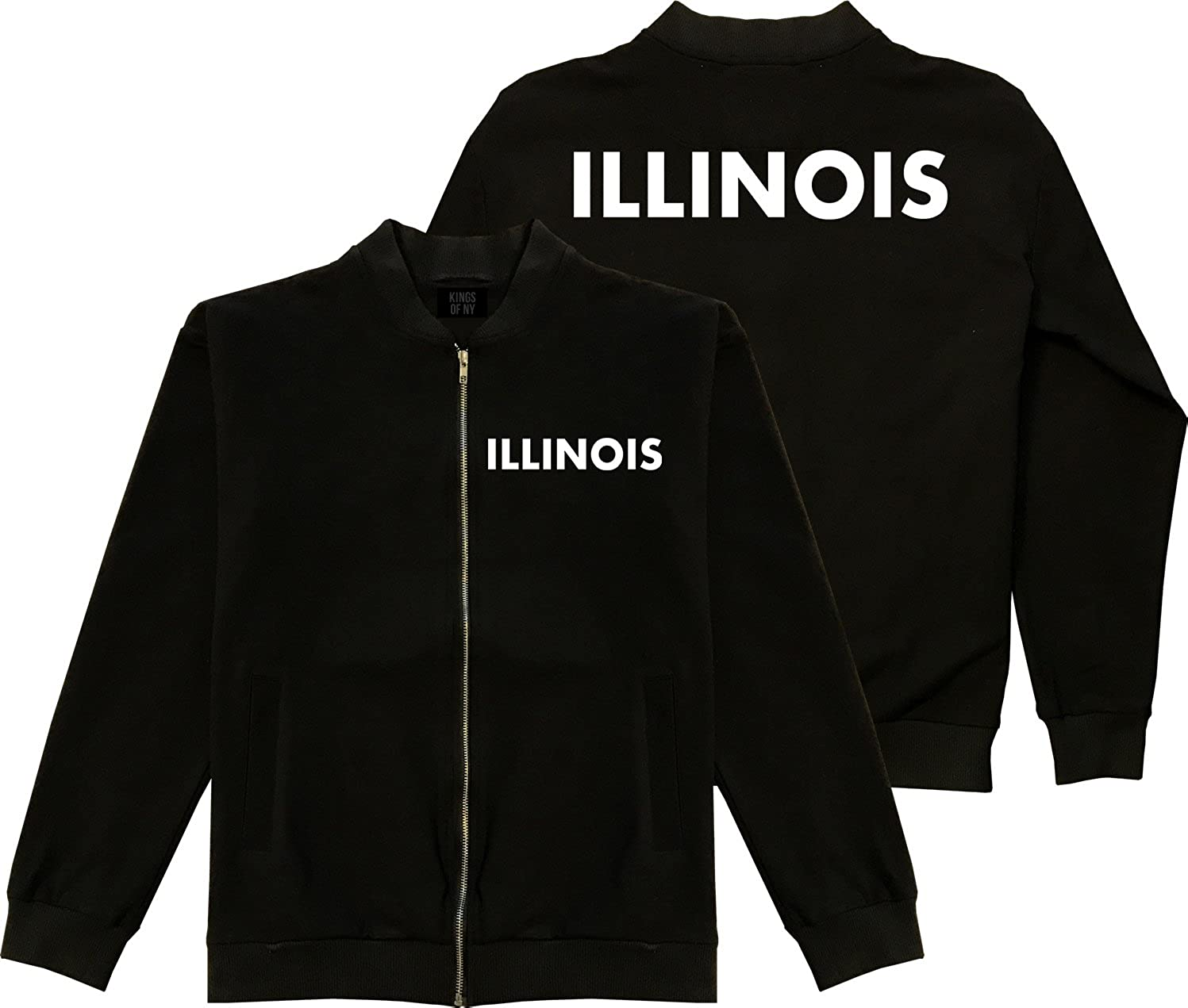 Kings Of NY Illinois State 2 Sided Black Cotton Bomber Jacket