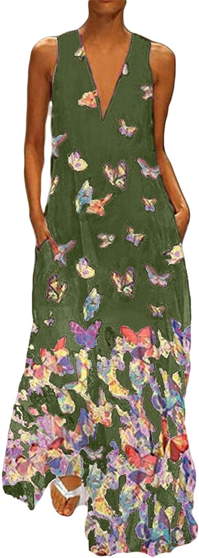 Soluo Women Casual Bohemian Printed Long Dresses Plus Size O-Neck Floral Print Vintage Sleeveless Dress