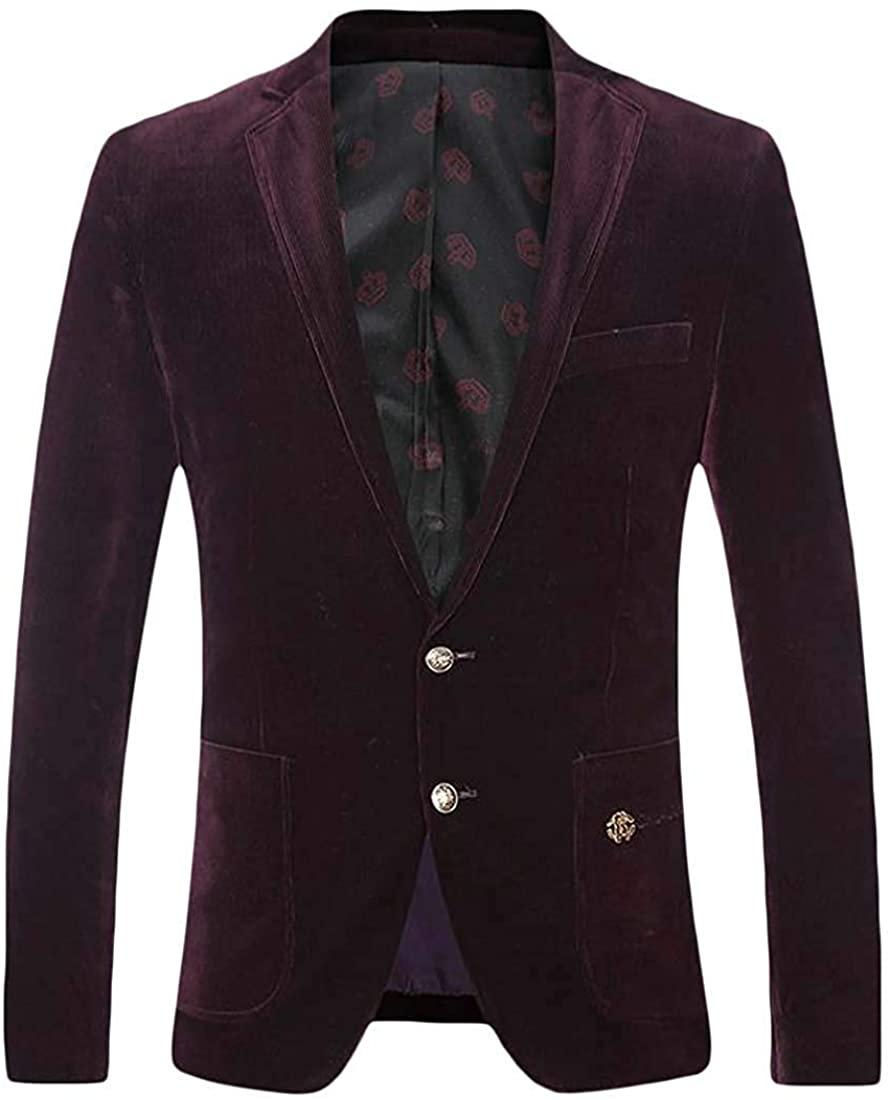 Mens Two Button Velvet Lapel Neck Pocket Sports Blazer Jacket