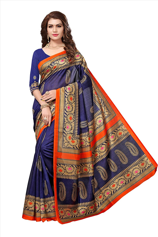 Jaanvi fashion Women's Bhagalpuri Silk Paisley Printed Saree with Unstitched Blouse(ganga-Blue)