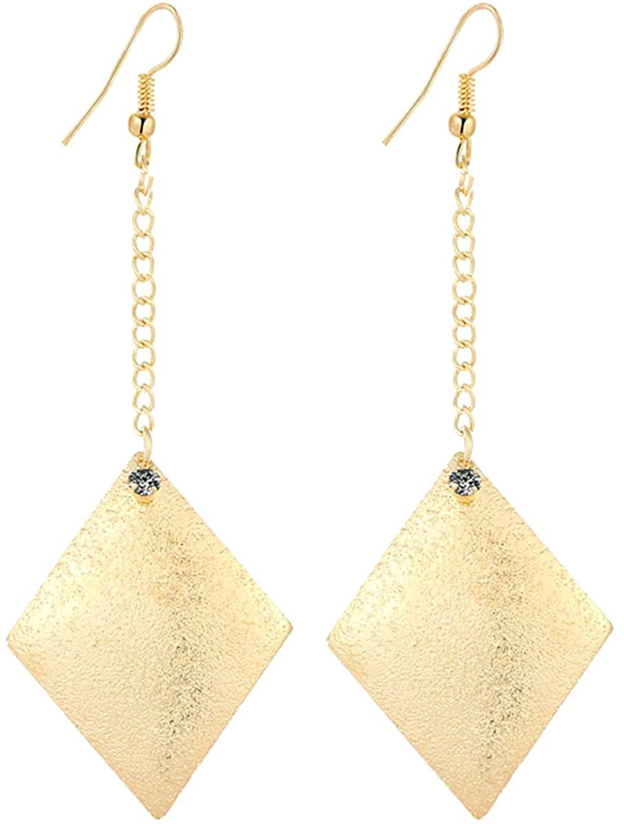IDB Delicate Filigree Dangle Parallelogram Hook Earrings - Available in Silver and Gold Tones
