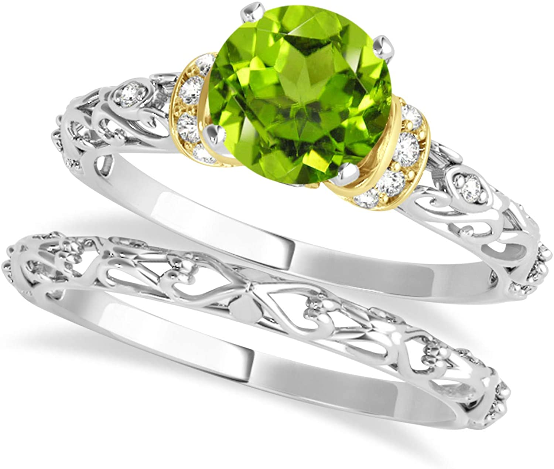 (0.87ct) 18k Two-Tone Gold Peridot and Diamond Antique-Style Bridal Set