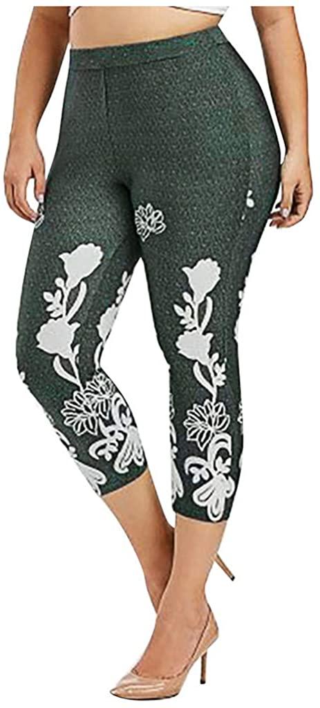 ZQISHMAO Women's Seasonal Printed Capri Length Yoga Leggings