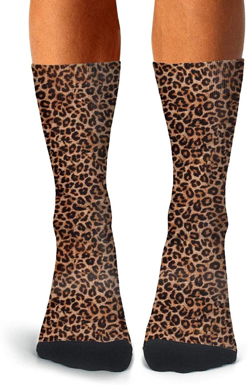 Leopard Cheetah Print Brown Socks for Men's Fun Four Seasons Socks Cozy Crew Socks