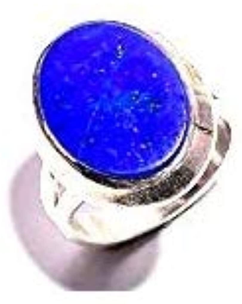 mughal gems & jewellery 925 Sterling Silver Ring Natural Blue Lapis Lazuli Gemstone Fine Jewelry Ring (Size 8 U.S)