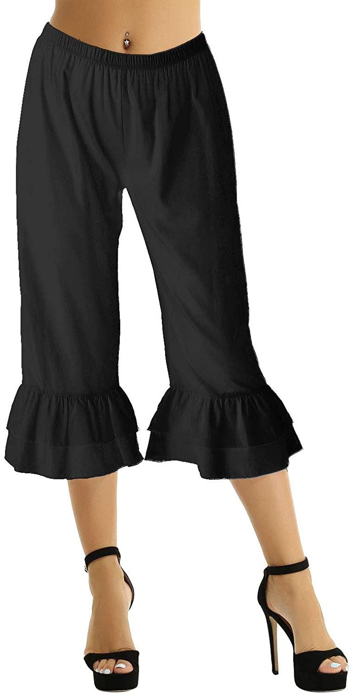 iEFiEL Victorian Costume Womens Renaissance Ruffles Hem Bloomers Steampunk Pantaloons