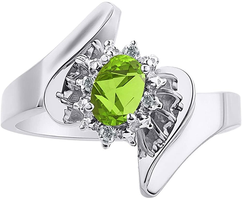Diamond & Peridot Ring Set In Sterling Silver - Diamond Halo - Color Stone Birthstone Ring