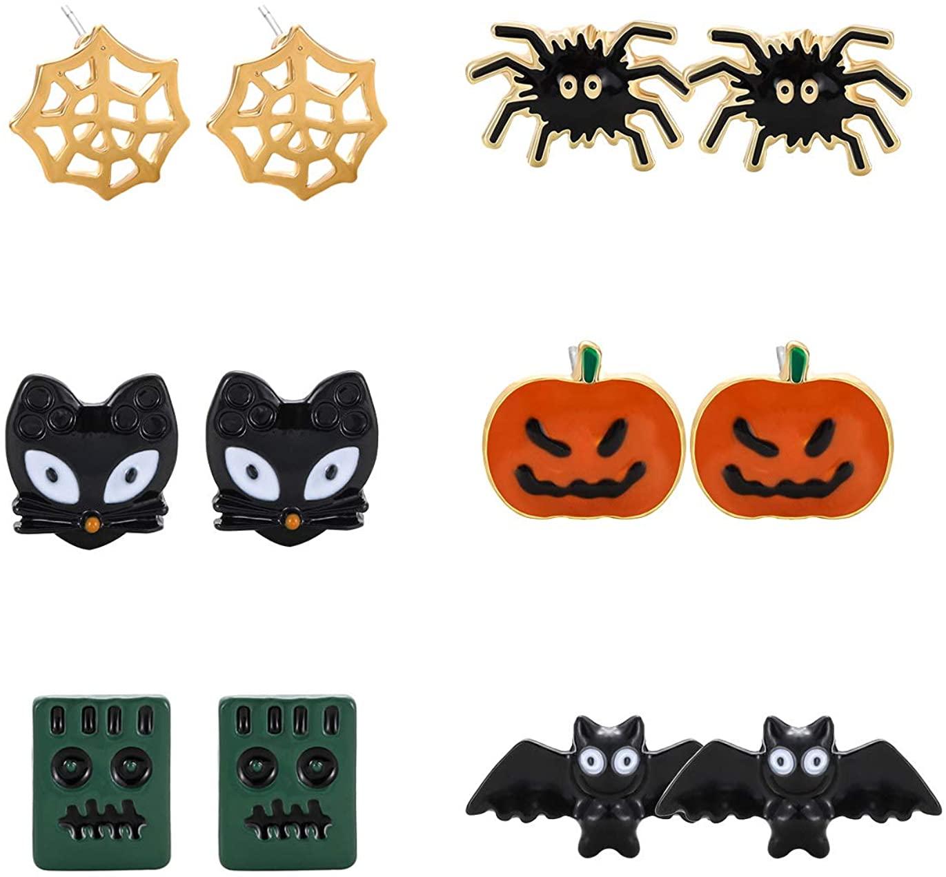 NVENF Halloween Earrings Spider Bat Pumpkin Ghost Drop Dangle Earrings Halloween Theme Party Dress Up Stud Earring Set for Women Girls