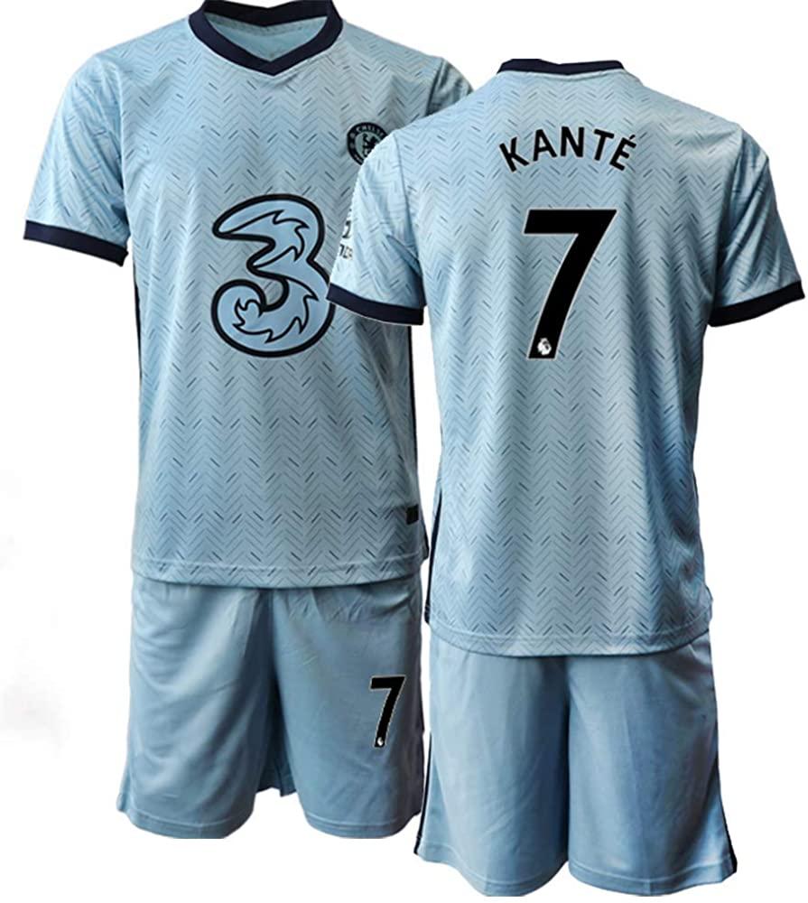 WEIFENG Kids 20/21 KANTE 7# Soccer Jersey T-Shirt and Sports Shorts Suit -Blue