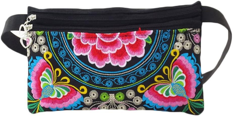 Haotfire Womens Zipper Belt Waist Pack Ethnic Embroidered Cell Phone Bag Coin Purse