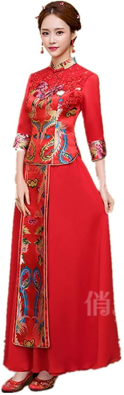 Show Wo Dress Qipao Wedding Qipao Wedding dress Bride Dress Bride Cheongsam Silk embroidery Three-quarter sleeves