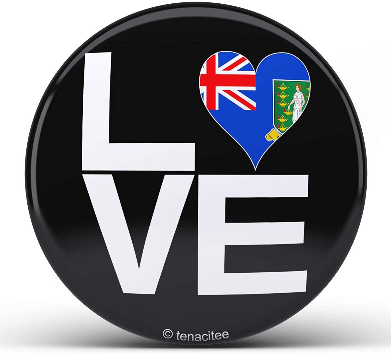 Tenacitee Love Block British Virgin Islands Heart Pinback Button