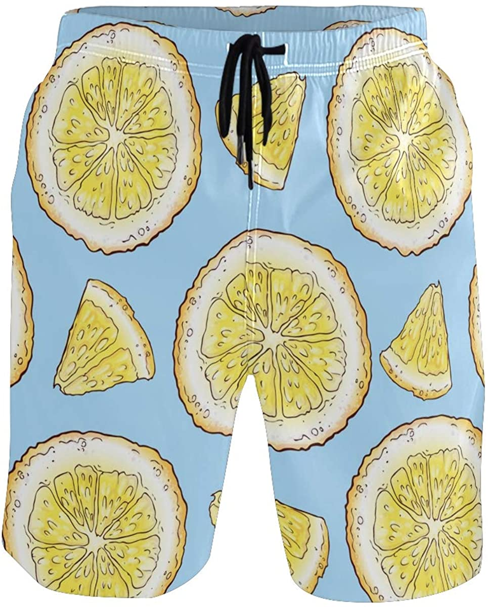 Sinestour Mens Swim Trunks Colorful Lemon Swimming Trunks with Pocket Beach Shorts