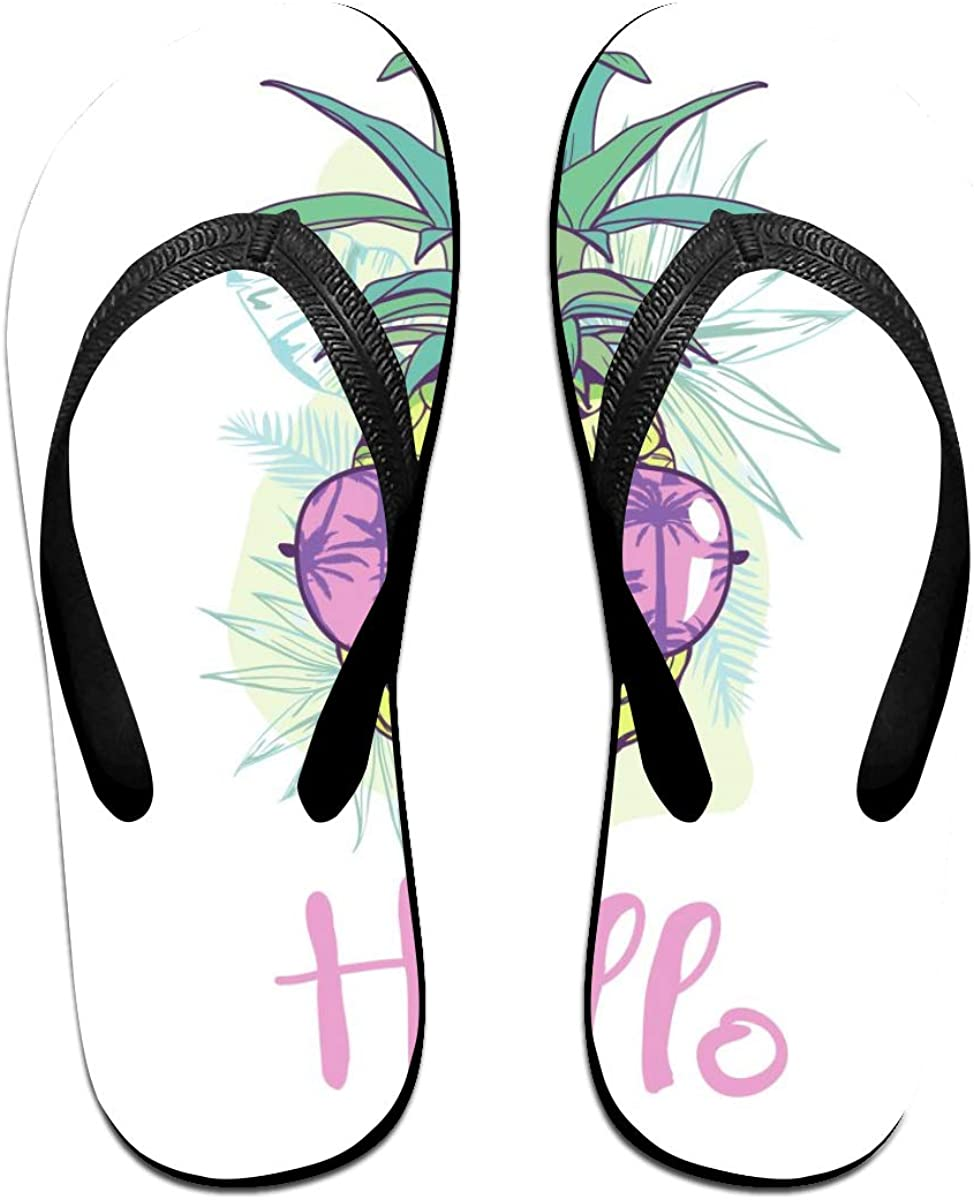 SLHFPX Mens Slippers Pineapple with Glasses Comfy Cozy Flip Flop Rubber House Outdoor Sandals