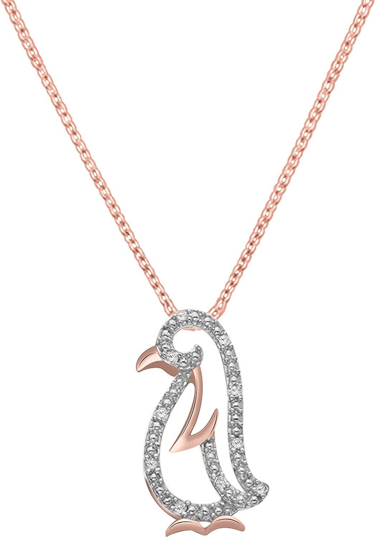 1/20 Ct Round Diamond Penguin Pendant With 18
