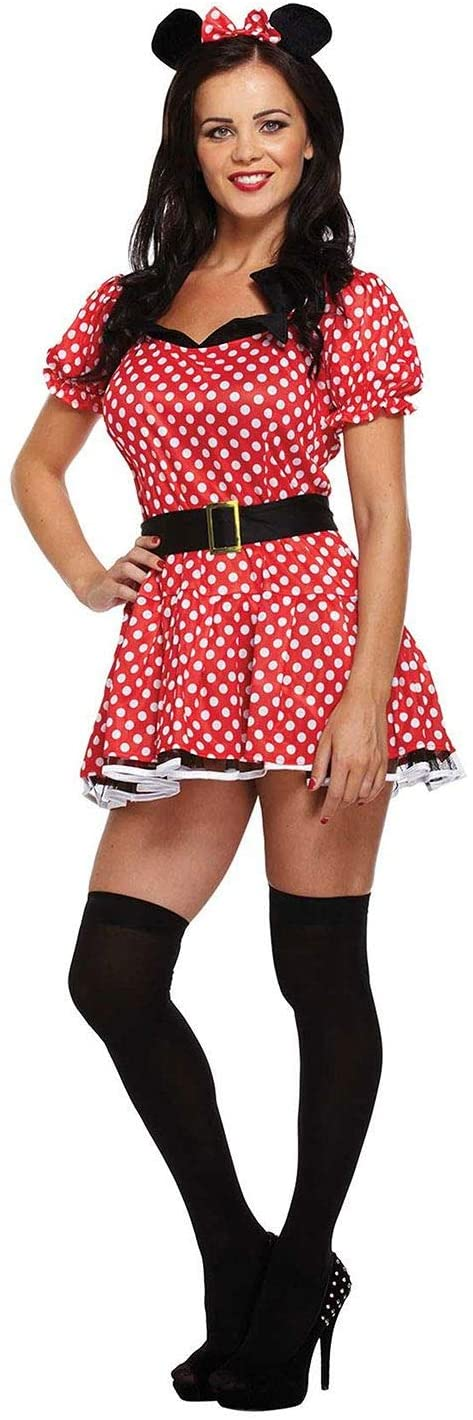 Rimi Hanger Womens Sexy Polka Dot Mouse Adult Role Play Costume Ladies Hen Night Party Fancy Dress One Size