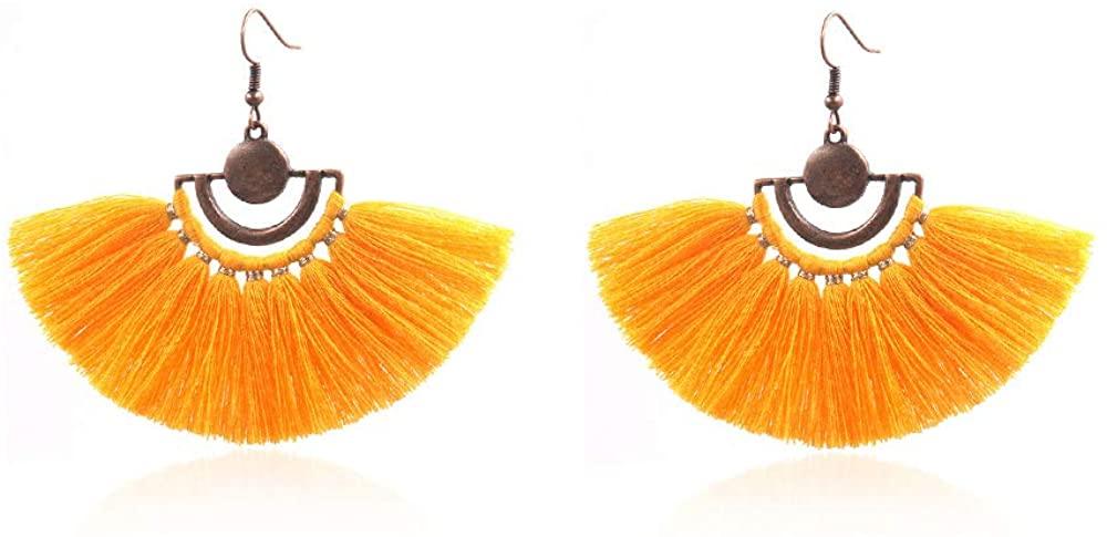 GELVTIC Tassel Earrings for Girls Womens Bohemian Fringe Dangle Drop Earrings with Fashion Hoop and Fan Shape Ideal Gift