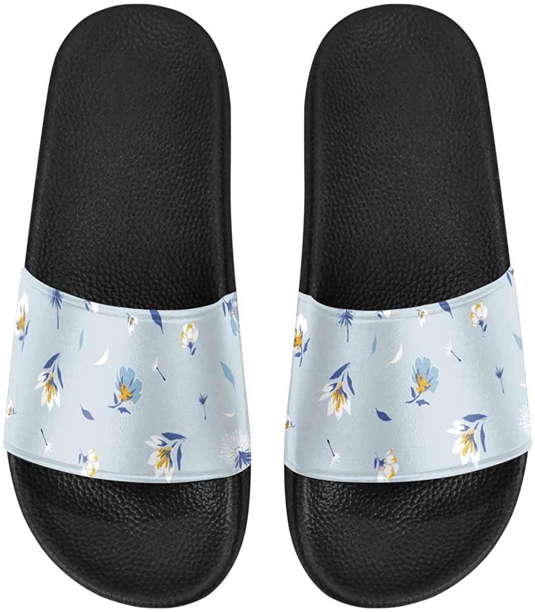 INTERESTPRINT The Blooming Botanical Motifs Men's Walking Beach and Pool Shoes Lightweight Sandals