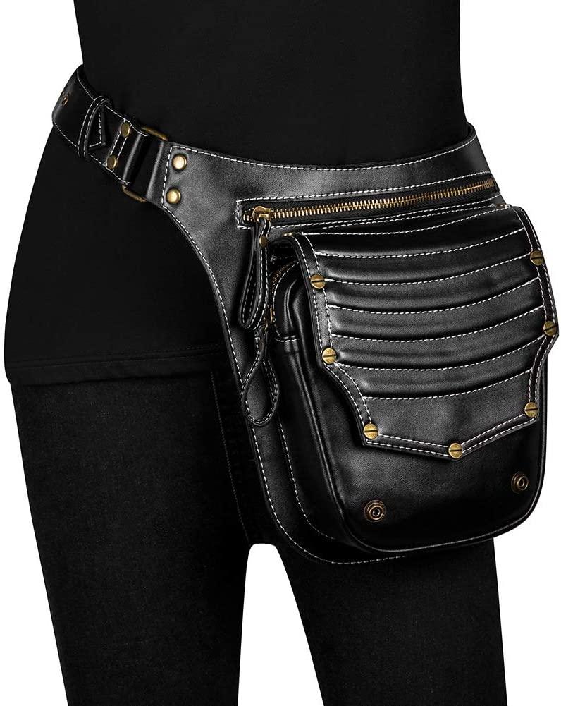 ZXXxxZ Steampunk Waist Bag Gothic Retro Motorcycle Leather Bag Goth Shoulder Packs Crossbody Rock Fanny Pack