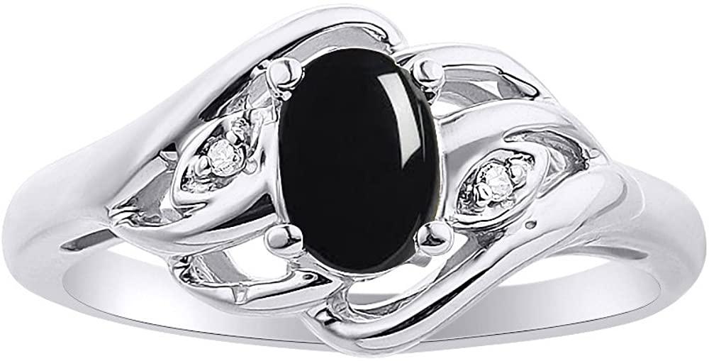 Diamond & Onyx Ring Set In 14K White Gold Birthstone