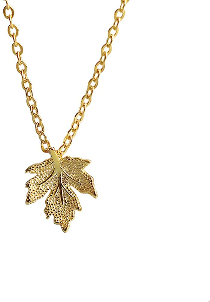 Fashionable Creative Natural Leaves Hemp Maple Leaf Pendant Necklace with Collarbone Chain