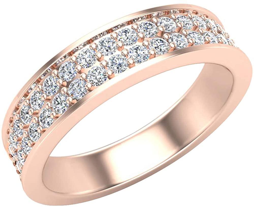 Men's Diamond Wedding Band 0.75 ctw Two-Row Half Way Men's 14K Gold 5mm (G,SI) Extra Ordinary Quality