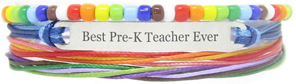 Miiras Handmade Bracelet for LGBT - Best Pre-K Teacher Ever - Rainbow - Made of Braided Rope and Stainless Steel - Gift for Pre-K Teacher