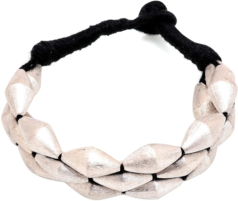 Tvayaa Art Indian Ethnic Thread Bracelet Bangle Silver Oxidised Overlay Traditional Jewelry (Size: Adjustable)