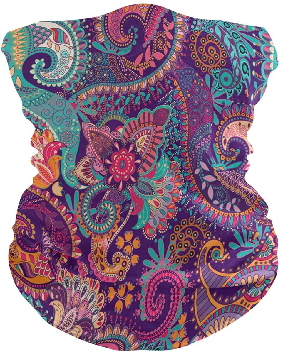 Toprint Boho Flower Floral Paisley Headwear Bandana Neck Gaiter Magic Scarf Seamless Headband Breathable Dust Sun UV Face Cover Outdoor Sports Women Men Running Festivals