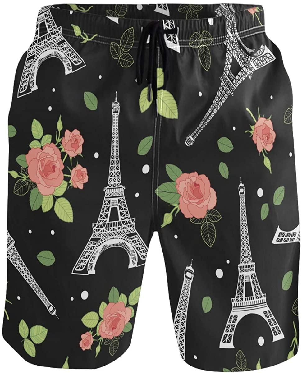 Men's Swim Trunks - Eifel Tower Paris and Roses Beach Short Men Quick Dry Beach Swimwear