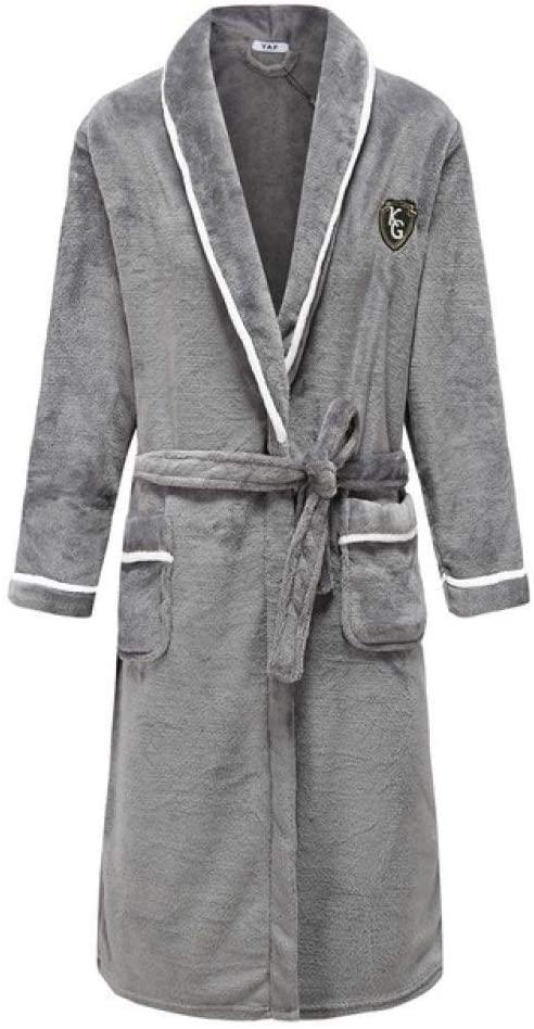 llwannr Robe Nightgown Sleep,Flannel Winter Kimono Robe Gown Woemen Keep Warm Sleepwear Homewear Lovers Casual Soft Full Bath Gown Nightgown Pajama Plus Size,Men5,XXL