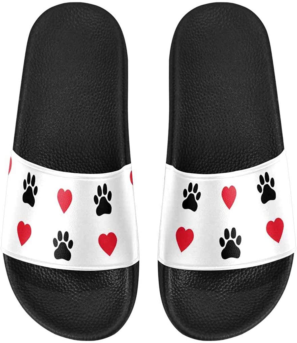 INTERESTPRINT Dog Paw, Cat Paw, Heart Men's Sandals, Shoes for Men Shower Beach Slide Sandals