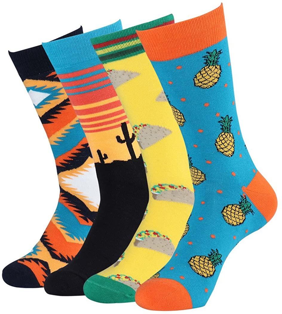 Men's Cool And Colorful Patterned Dress Socks for Men Novelty Animal Crew Socks
