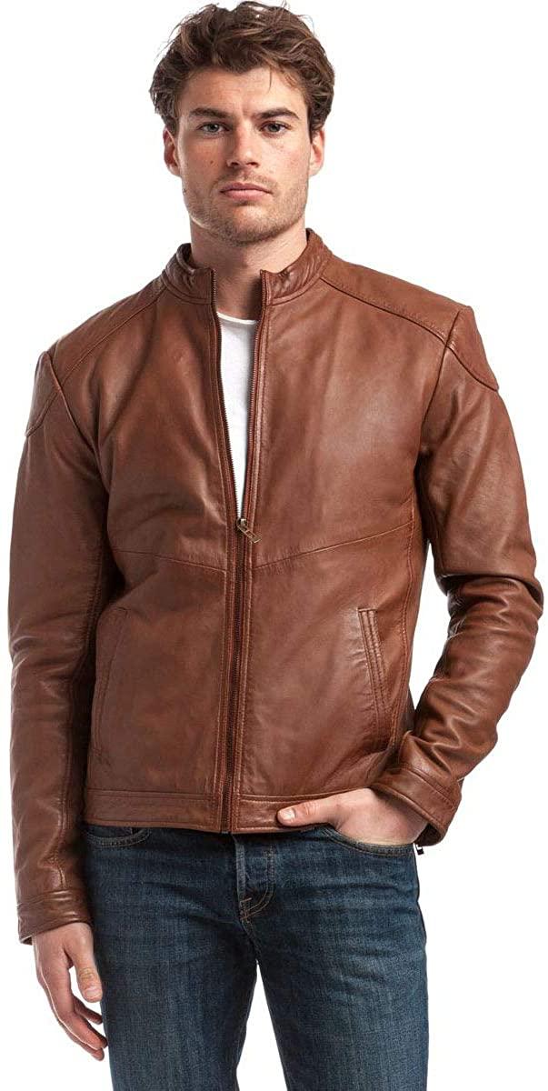 Benjer Skins Mens Genuine Lambskin Bomber Biker Motorcycle Leather Jacket X-Large Tan 112