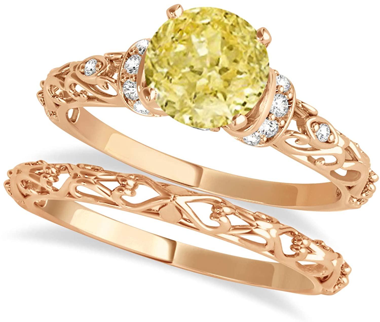 (0.87ct) 14k Rose Gold Yellow Diamond and Diamond Antique-Style Bridal Set