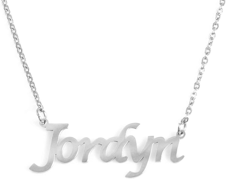 Zacria Jordyn Custom Name Necklace Personalized - Silver Tone