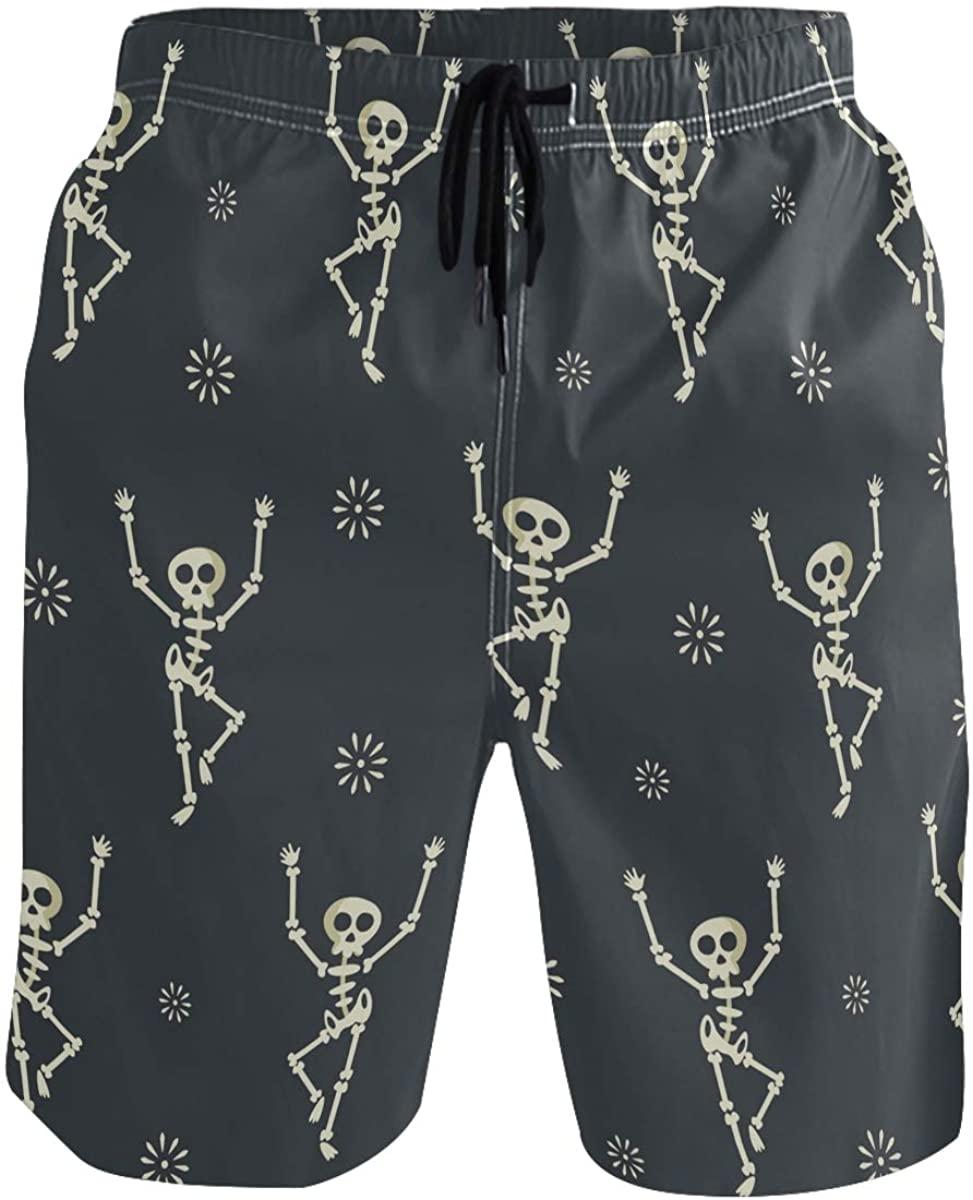 Men's Swim Trunks - Dancing Skull Halloween Beach Short Men Quick Dry Bathing Suit Shorts