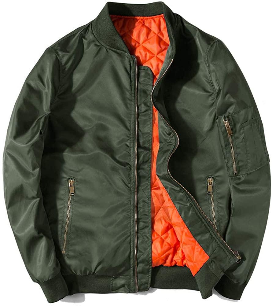 EKLENTSON Men's Casual Thicken Bomer Jacket Slim Fit Outwear Air Force Fight Jacket Windbreaker Men