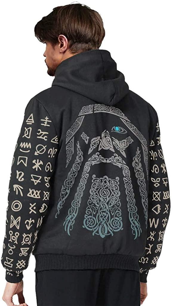 Jolyhui Mens Long-Sleeve Zipper Viking Man Print Fleece Sherpa Sweater Winter Workout Hoodie Jacket Tops with Hood